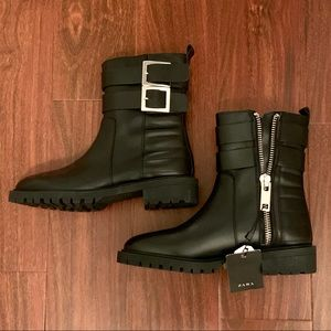NWT Zara black leather moto boots, size 37